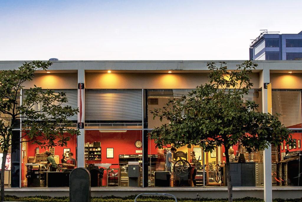 The letterpress print studio at the School of Visual Concepts, circa 2015 (Seattle, WA).