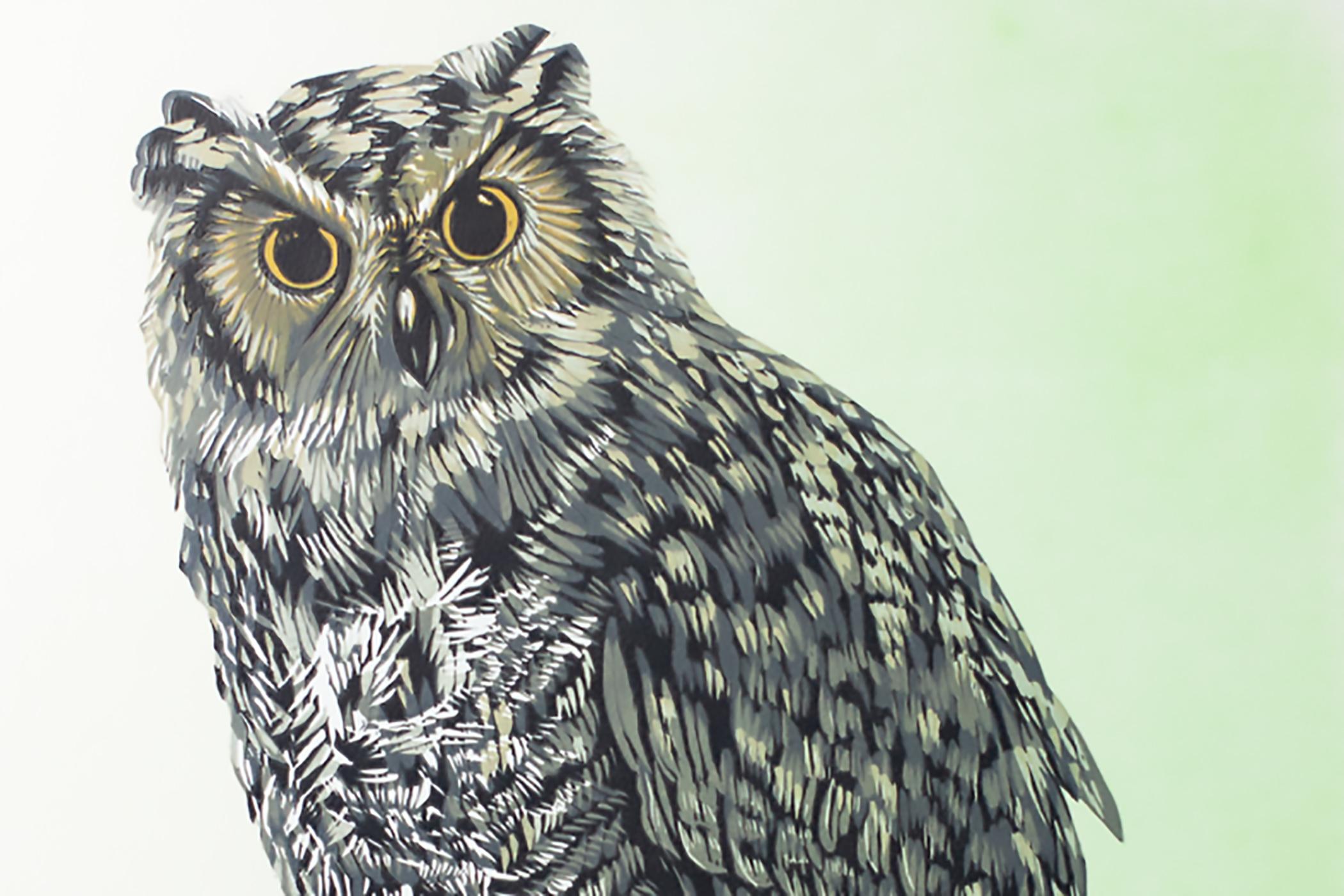Mary Bruno Reduction Cut owl Linoleum cut