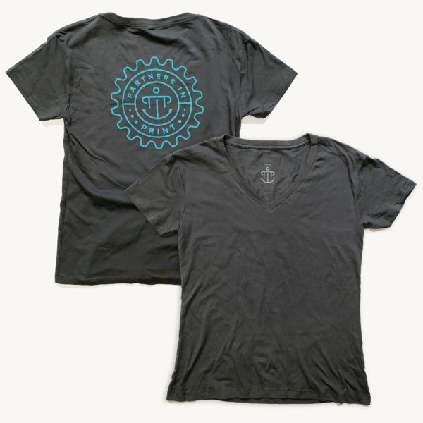 Partners in Print t-shirt (charcoal gray v-neck tee with blue PiP logo)