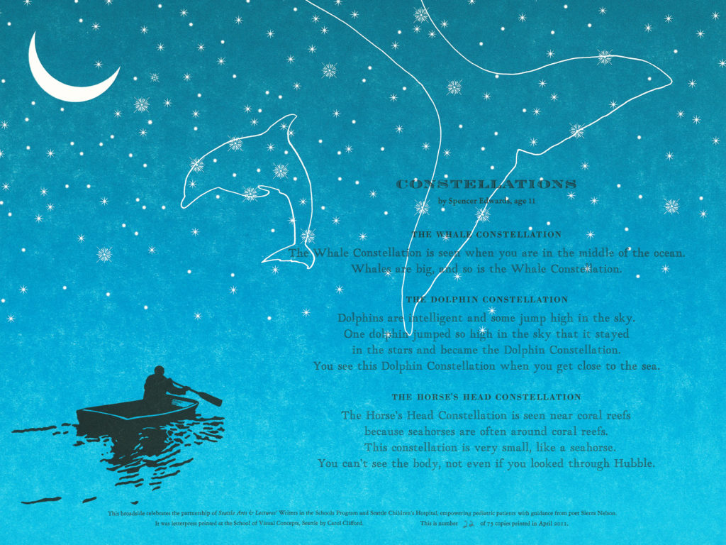 Letterpress printed poetry broadside (Partners in Print / Words of Courage)